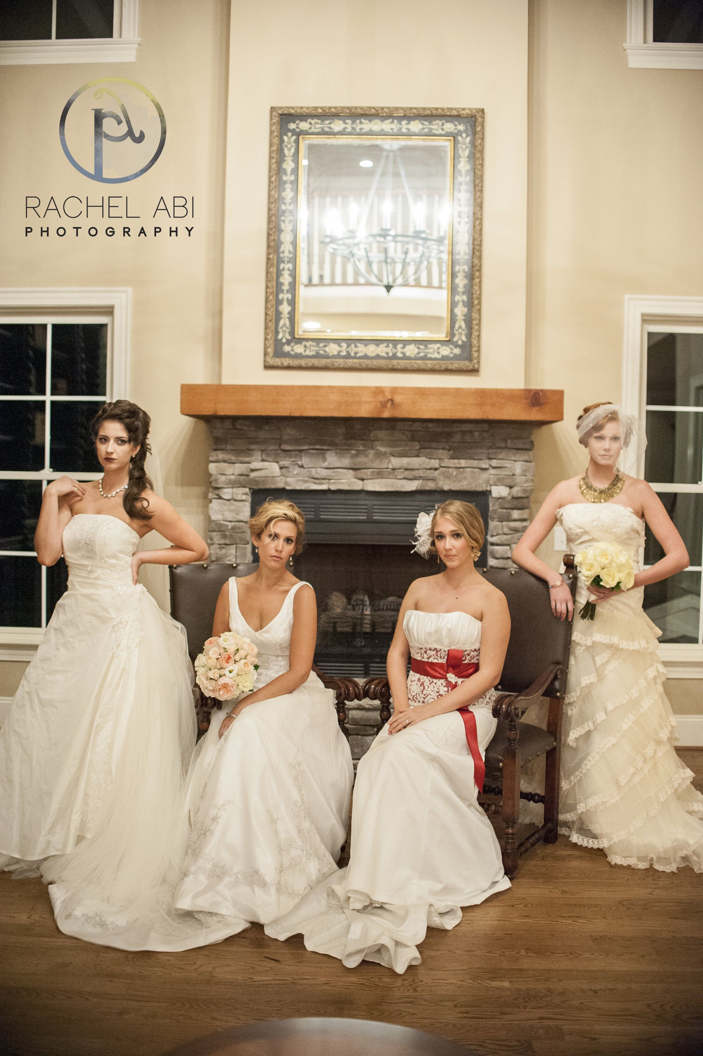 All of the lovely brides! Gown from Songbirds Bridal, Formal & Consignments. Photo by Rachel Abi. Venue is the Oaks at Salem. #bride #bridal #gown #weddinggown #bridalgown #ncbride #yestothedress #weddingphotography #triadbride