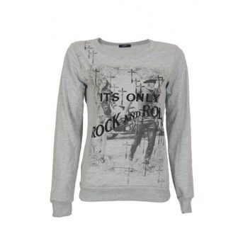 It's only rock and roll baby! This grey casual sweater with black printing is very rock and roll. The print says: It's only rock and roll and is decorated with black crosses and a couple in the background. Wear with some of our skull and crosses bijoux for the complete look!  www.2dayslook.com