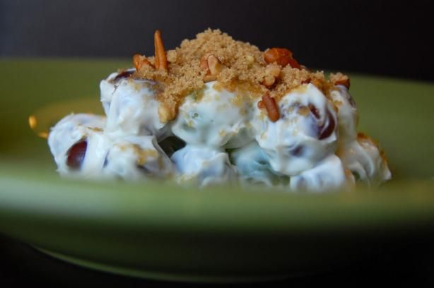 Best Ever Grape Salad. Cream Cheese, Brown Sugar, Pecans.....it doesn't look like much, but seriously, try it. It is so good!