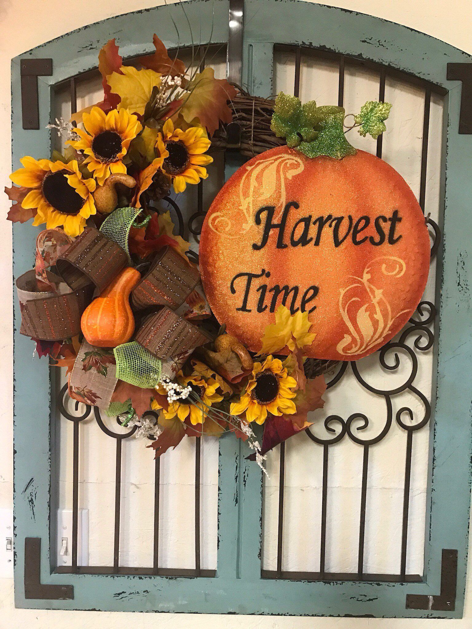 It's Fall Y'all Harvest Time Wreath Door Hanger fairy
