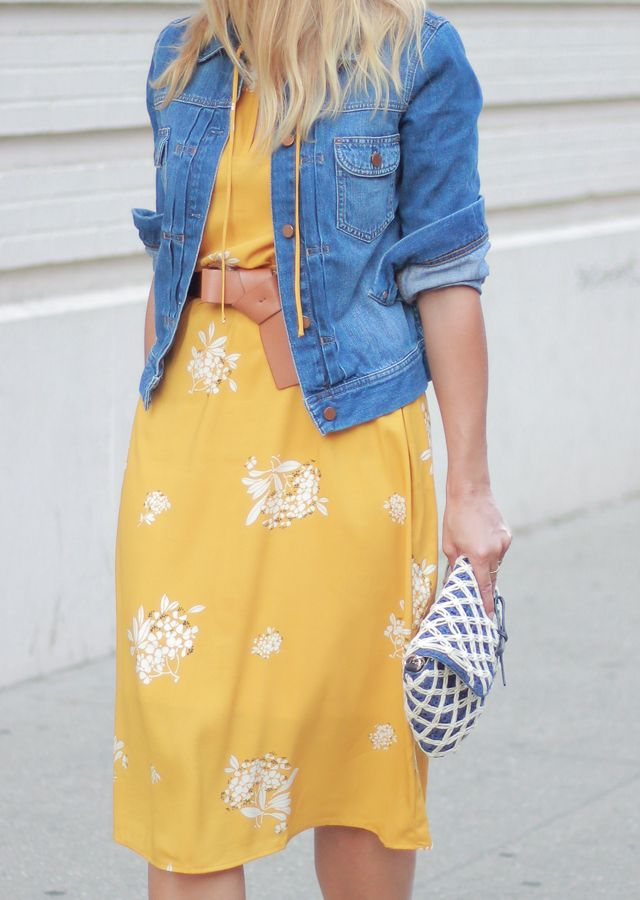 c6e305f824 The Steele Maiden   LOFT yellow floral midi dress and denim jacket ...
