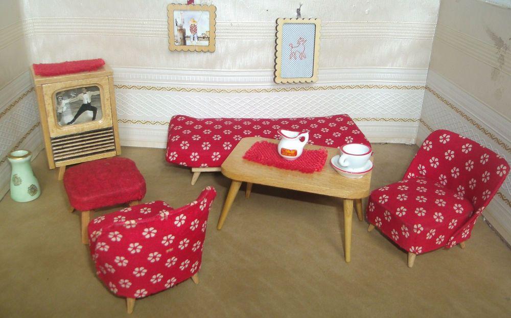 Wohnzimmer Hocker ~ Puppenstube wohnzimmer cocktailsessel kanapee sofa fernseher