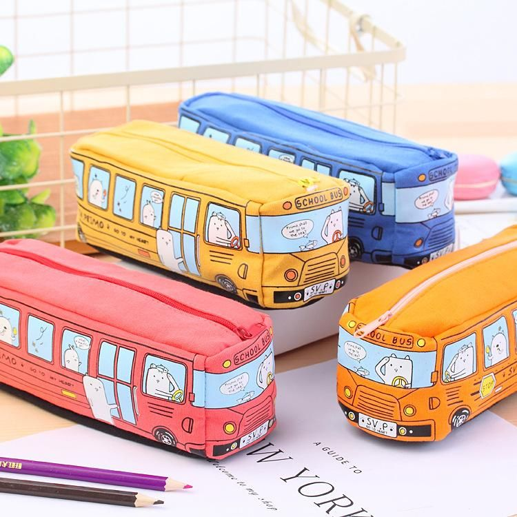 1 Piece Bus Canvas Pencil Case is part of School Organization Pencil Case - Size 1966 5 cm