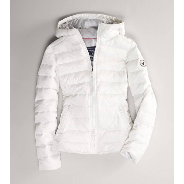 American Eagle Outfitters Ae Hooded Puffer Coat ($100) ❤ liked on Polyvore