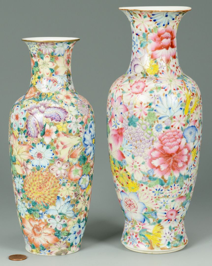 Lot 8: Pr. Chinese 8 Flowers Porcelain Vases  Chinese