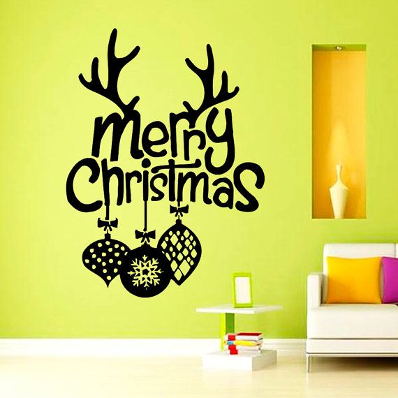 Vinyl Wall Decals Merry Christmas Happy New Year by WisdomDecals ...