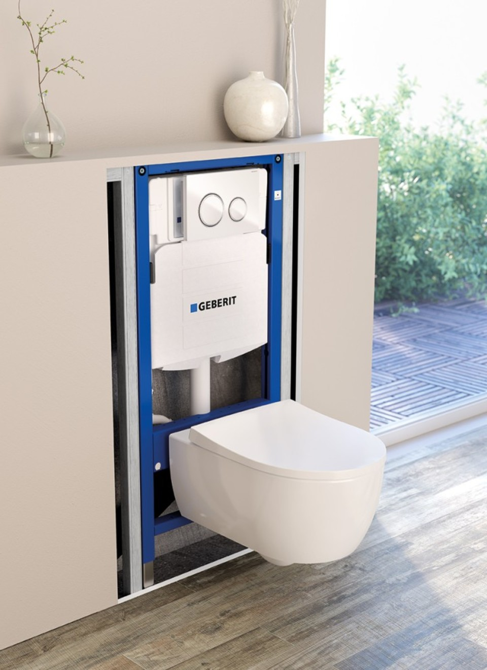 Geberit In Wall Flush Toilet Tank System For Wall Hung Toilet Concealed Cistern With Sigma50 Flush Pla In 2020 Concealed Cistern Wall Hung Toilet Wall Mounted Toilet