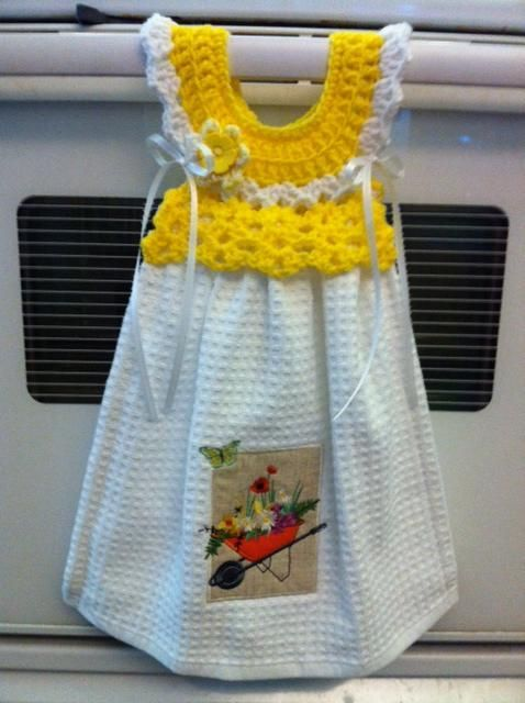 Oven Handle Dress Towel Topper Crafts Crochet Towel Crochet