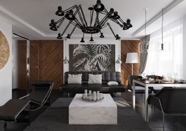 kleines-wohnzimmer-essecke-schwarz-weiss-holz-innentuere - bilder wohnzimmer schwarz weiss