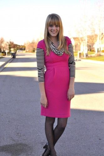 Long sleeve under dress.  And stripes!