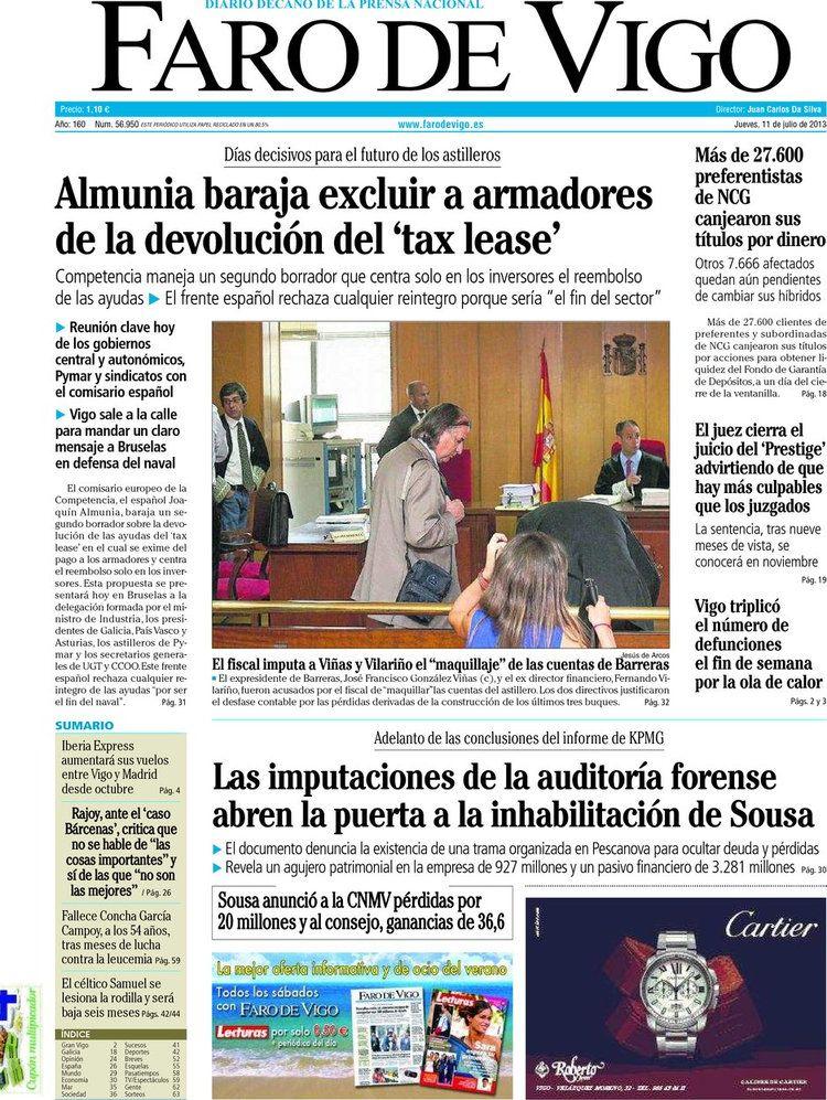 Los Titulares y Portadas de Noticias Destacadas Españolas del 11 de Julio de 2013 del Diario Faro de Vigo ¿Que le parecio esta Portada de este Diario Español?