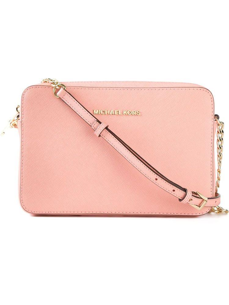 a57a27171a8f Michael Kors Jet Set Large Saffiano Pale Pink Cross Body Bag #MichaelKors  #MessengerCrossBody