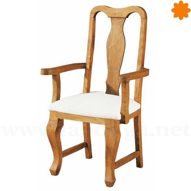 Gran silla de madera acolchada con reposabrazos 60x106x50 for Catalogo de sillas de madera