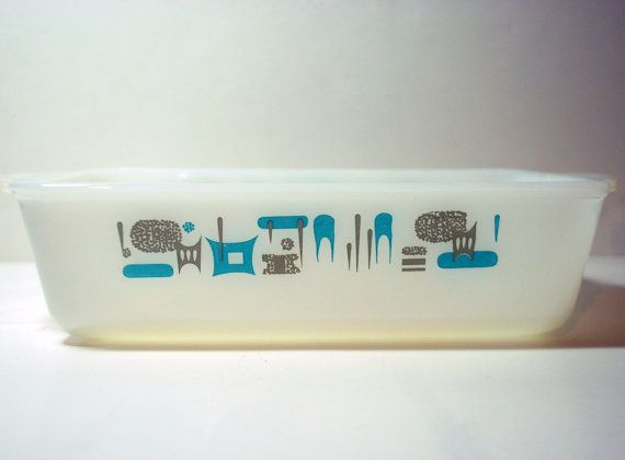 This is a great retro vintage Pyrex baking dish in aqua ...