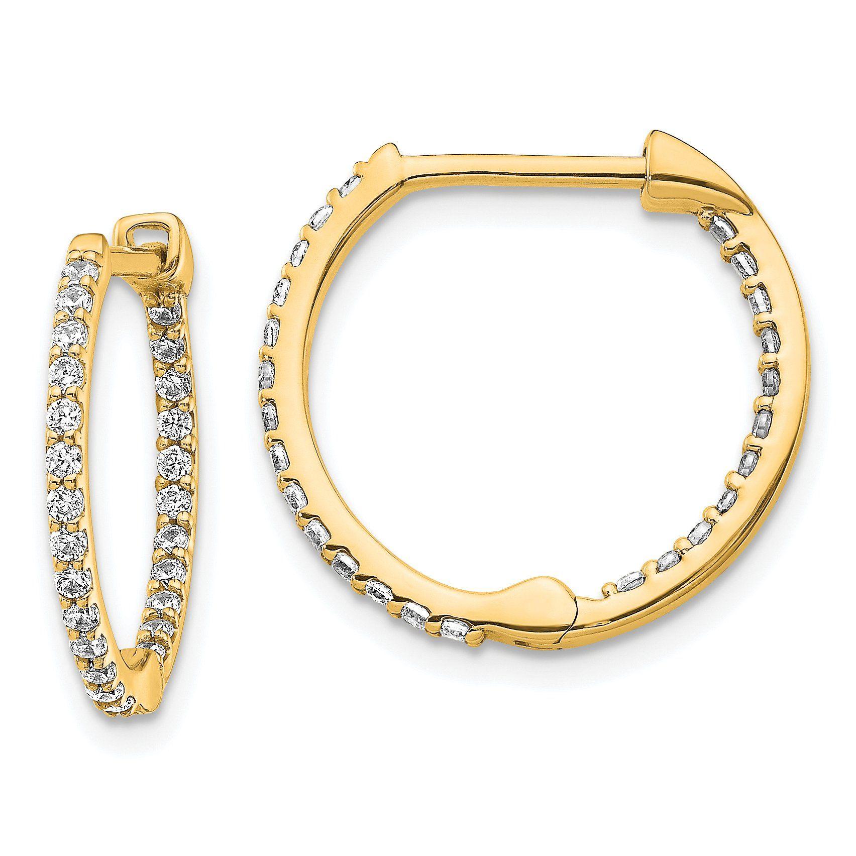10KT GOLD IN/&OUT DIAMOND CUT HOOPS 3//30MM HOOP EARRINGS