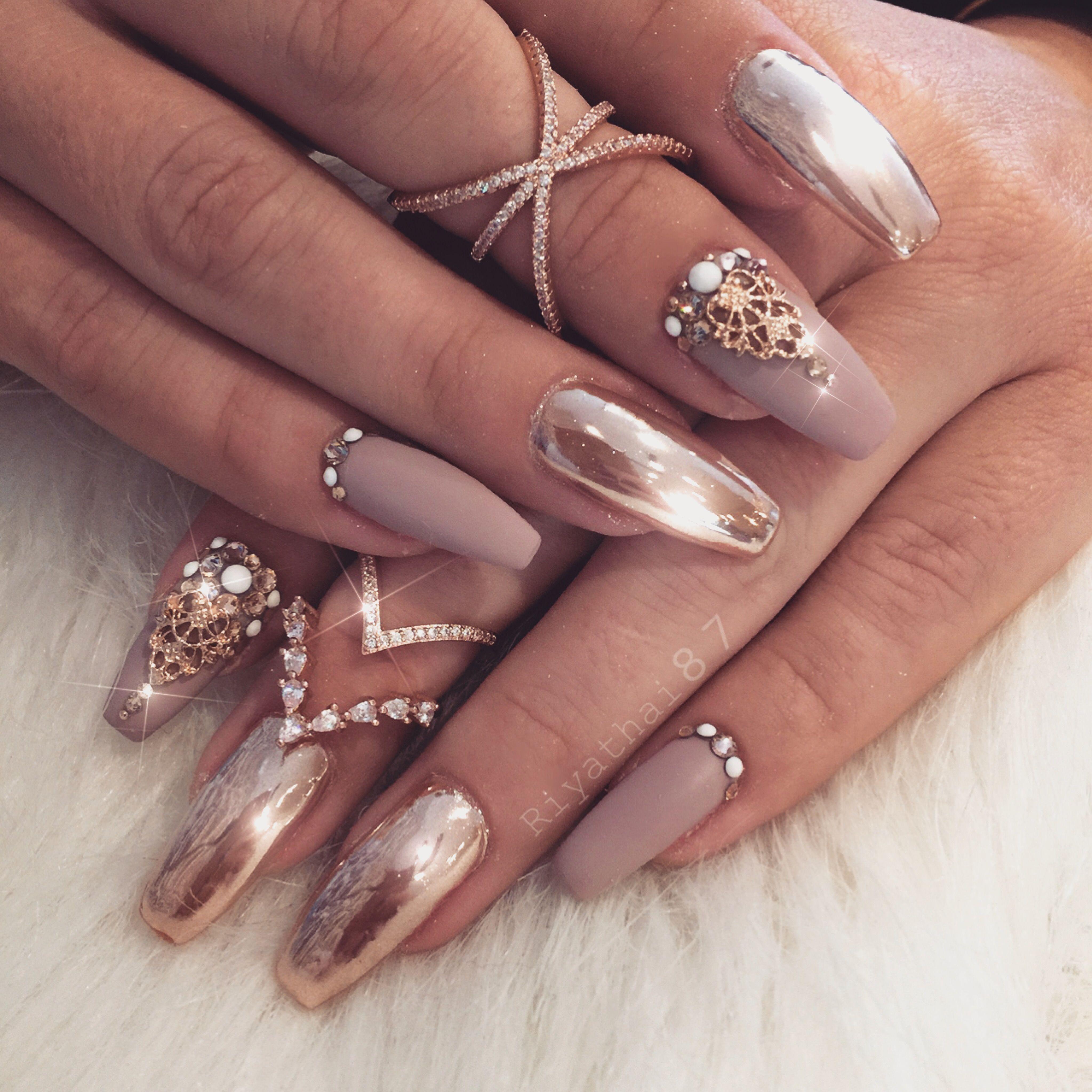 Rosegold Chromebnails | Nail\'d It | Pinterest | Nail nail, Coffin ...