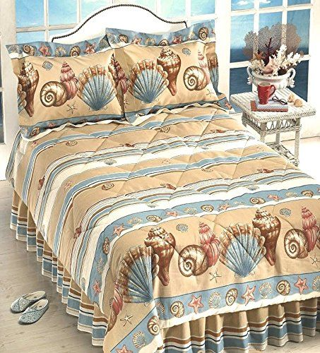 Get this Coastal Shoreline Beige Seashell Comforter Set, which is 55% Cotton and 45% Polyester.  The comforter has beach elements like different shells and sand.