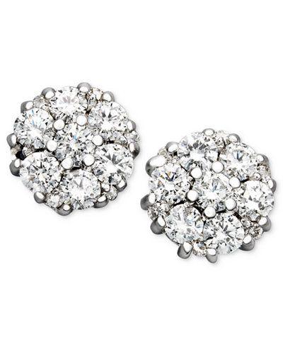 On Diamond Flower Cer Stud Women Earrings In 14k White Gold Beautiful For Bride Wedding Day Ad Womenjewelry Womenearrings Weddingideas