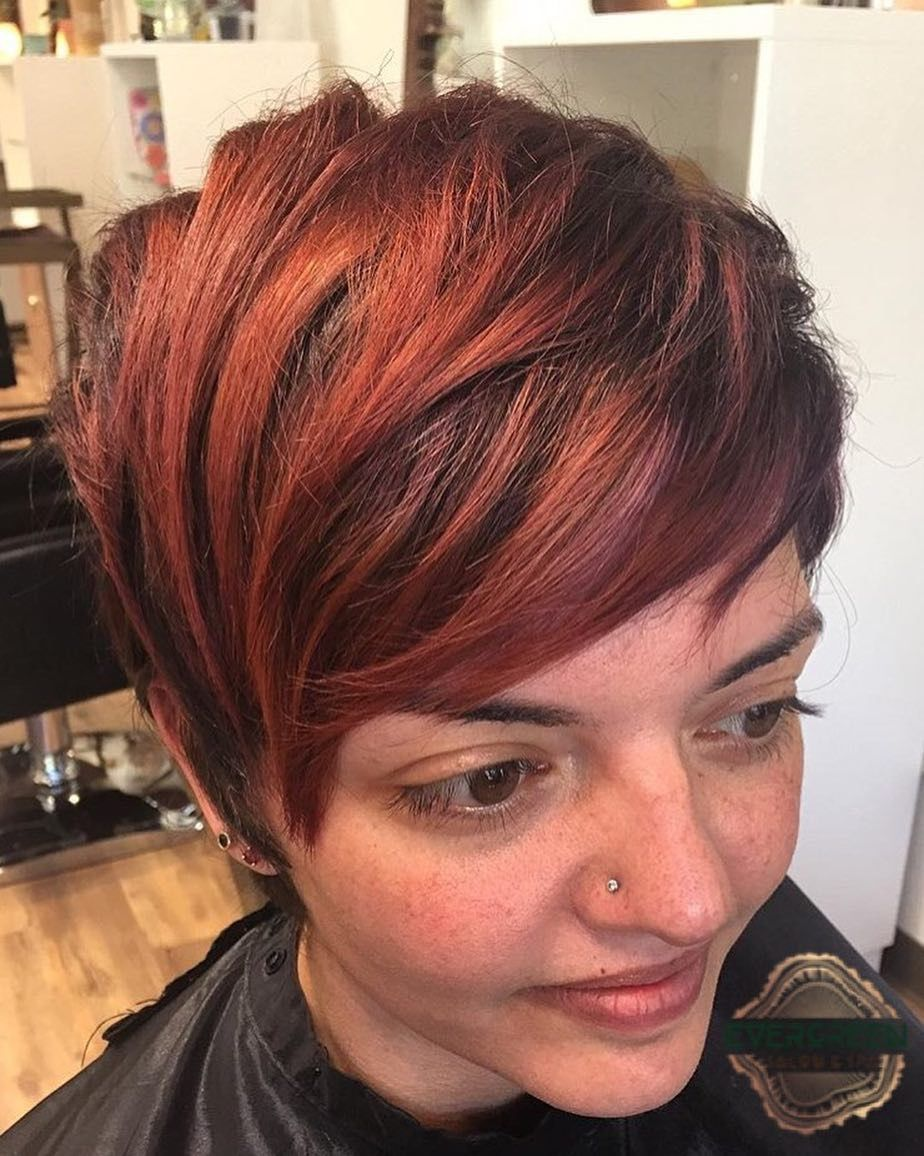 pixie fire red brown color cut short straight hair | stylist