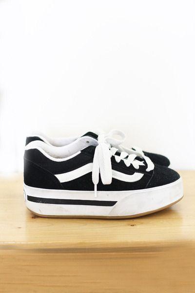 0fd39f0fe3 Black Platform Canvas Vintage Vans Sneakers
