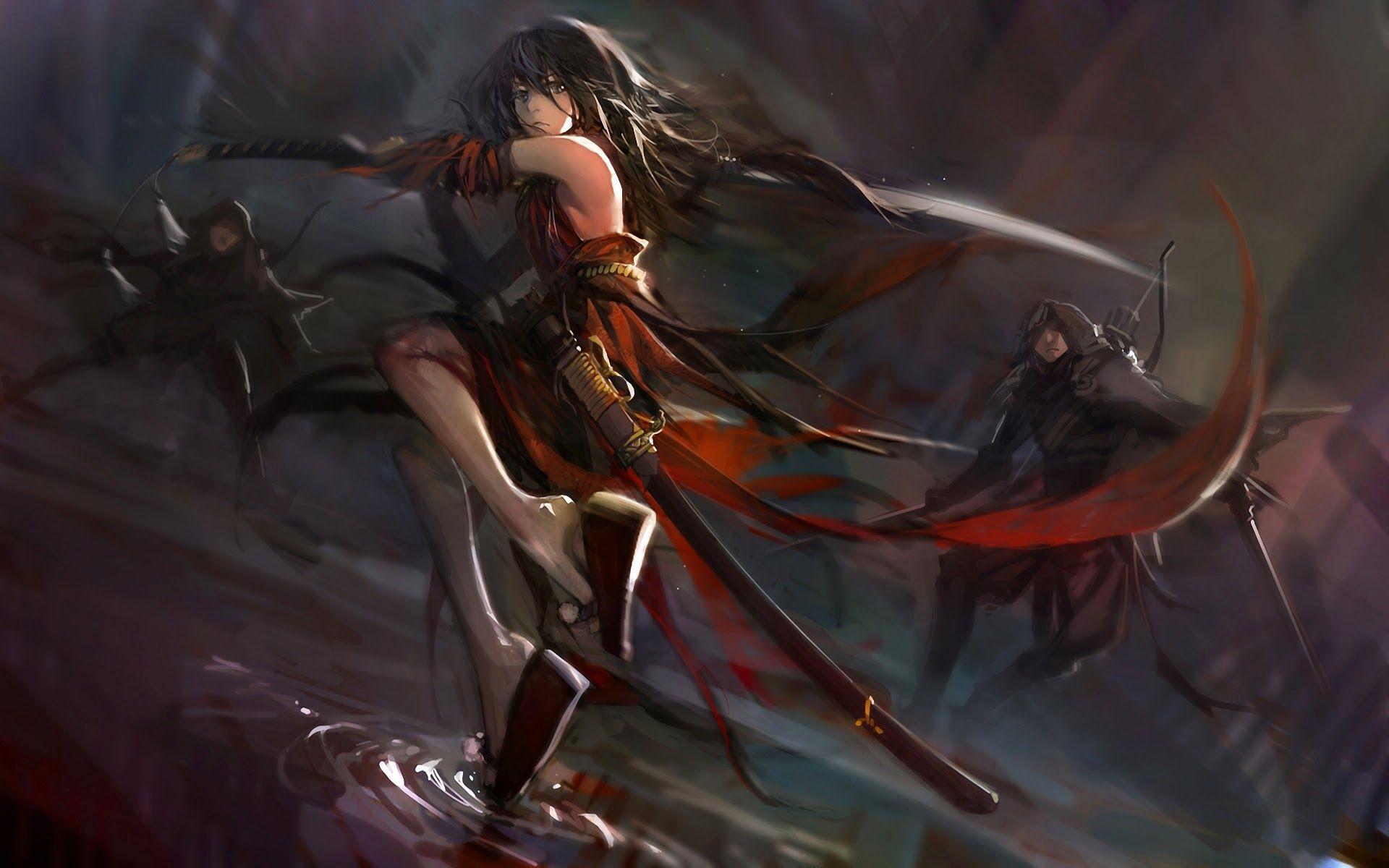 Anime girl with katana anime girl fighting katana sword - Girl with sword wallpaper ...