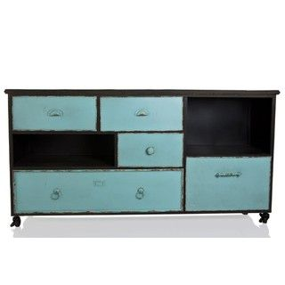 Industrial Cabinet w Black Frame Teal Drawer Fronts - Black Teal - 150.5x46.5x78cm - Iron - Stoneleigh & Roberson