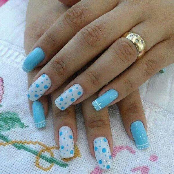Azul Cielo Uñas Uñas Azules Uñas Celestes Y Uñas Color Azul