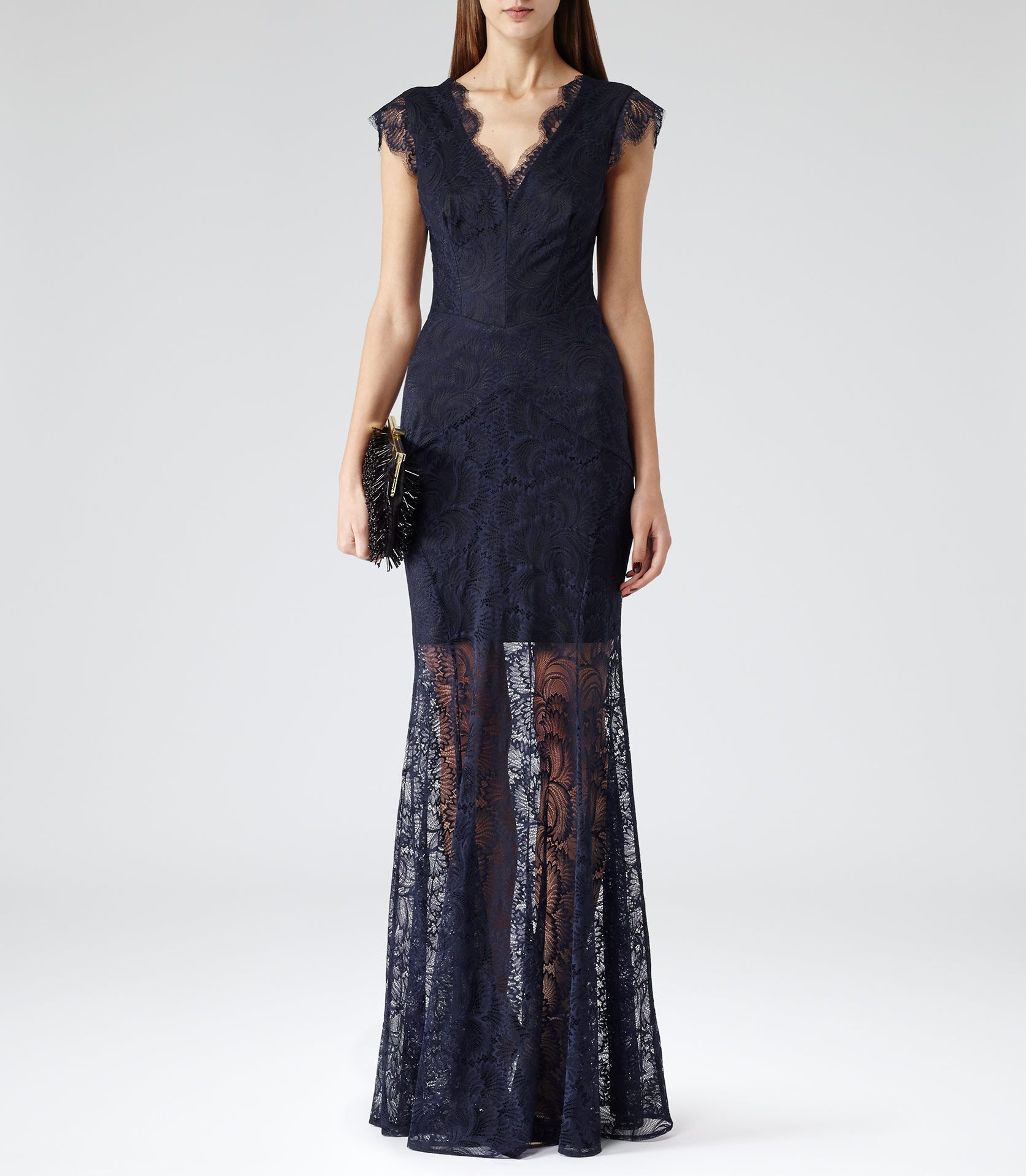 Womens Midnight Floral Lace Maxi Dress - Reiss Ambrosia | Party Time ...