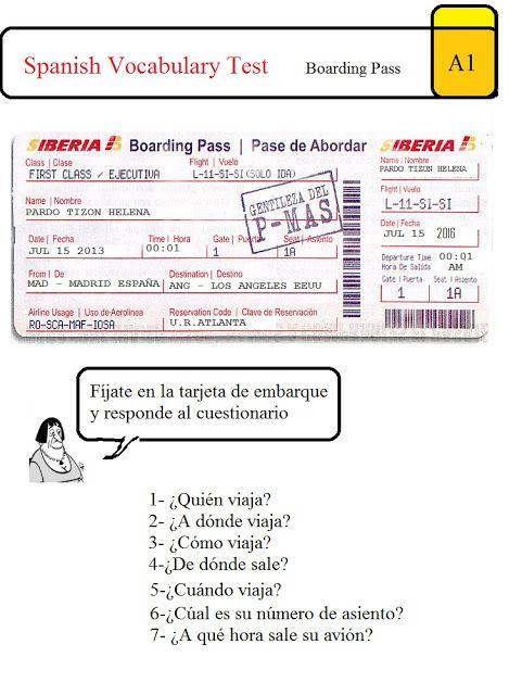 Spanish Test: Boarding Pass A1 | Viajar | Pinterest | Boarding pass ...