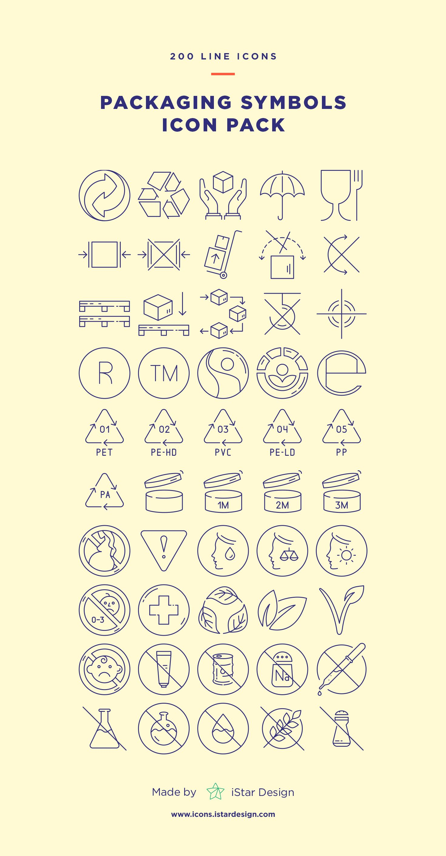 Download Packaging Symbols Set made by iStar Design  Series