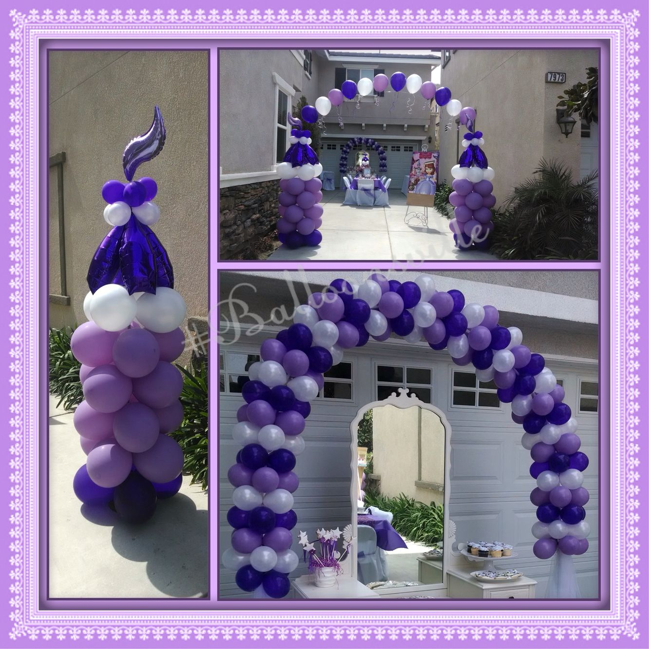 sofia the 1st theme balloon decor. lavender, purple, white balloon