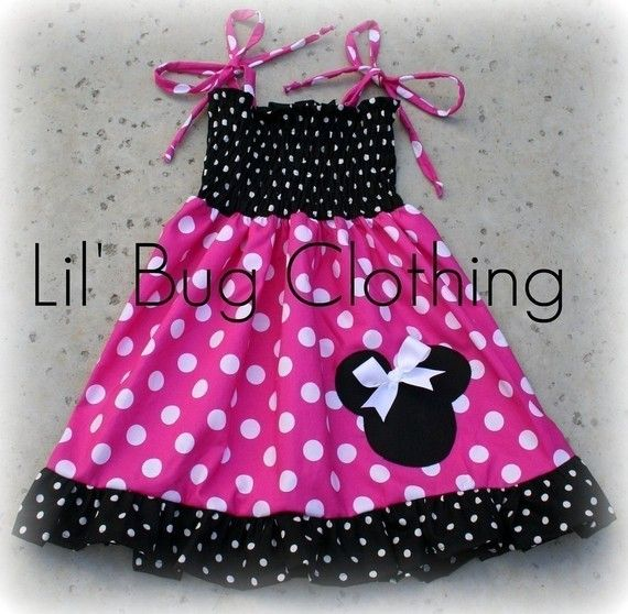 Minnie Mouse Pink Black and White Polka Dot Smocked Dress Custom ...
