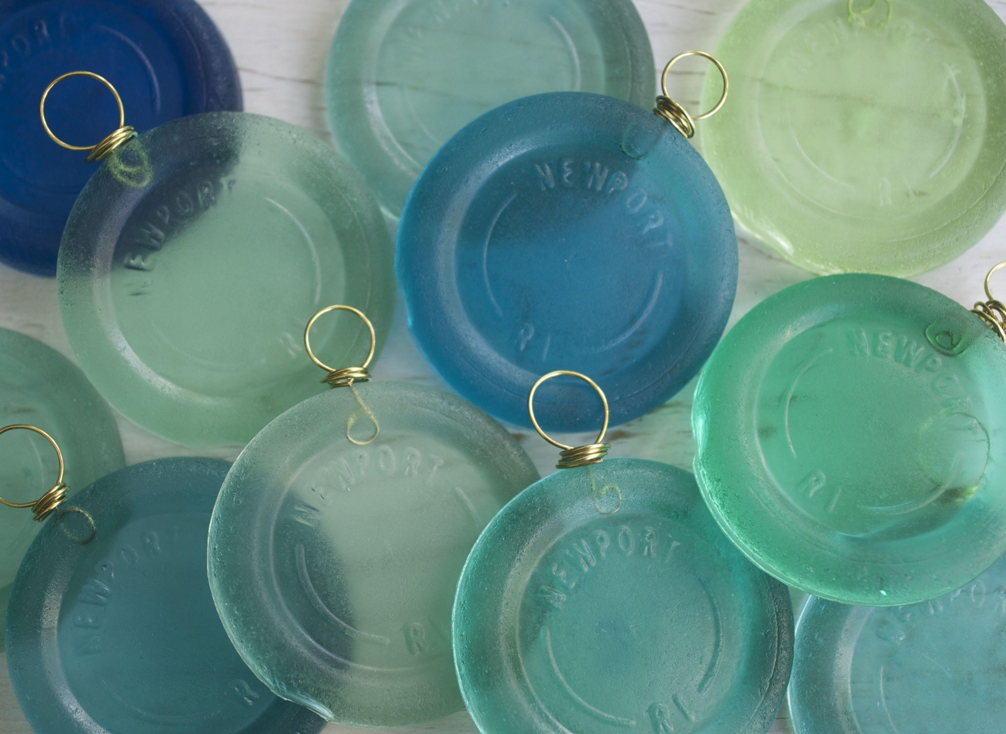Newport ri suncatcher ornament resin sea glass bottle for How to break bottom of glass bottle