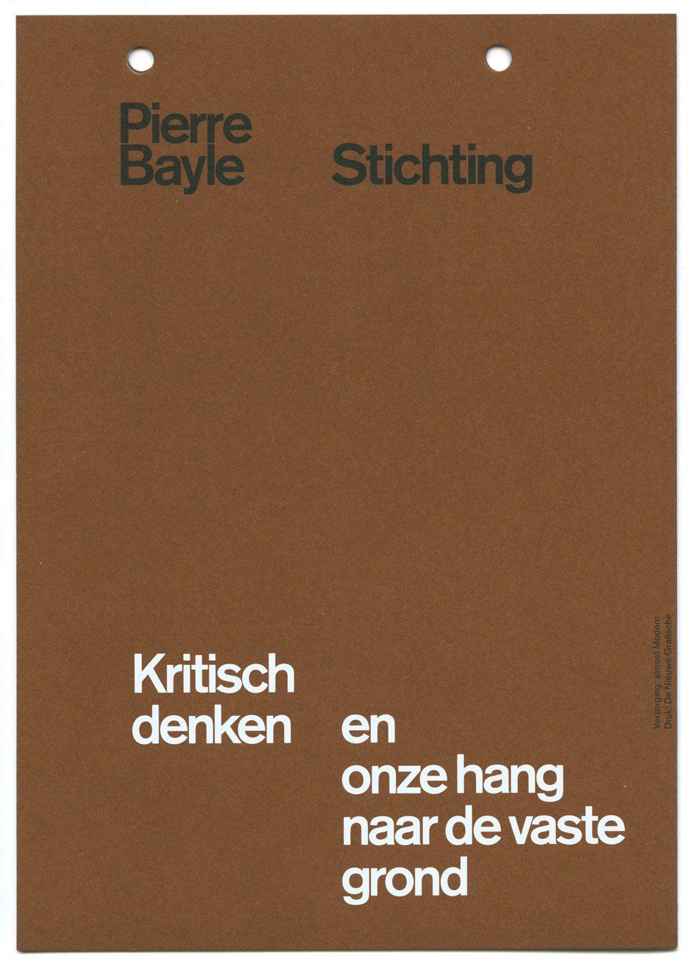 almost Modern : Pierre Bayle Stichting II