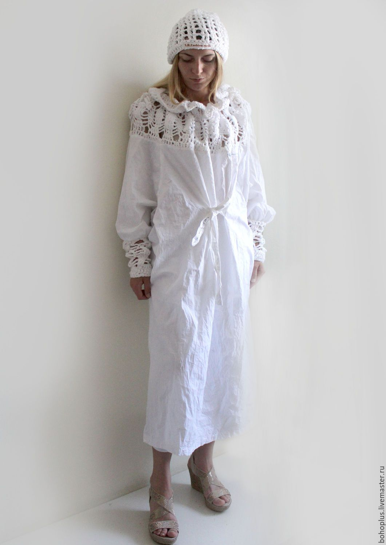 "Купить Платье-рубашка из хлопка ""Богемия"" - белый ..."