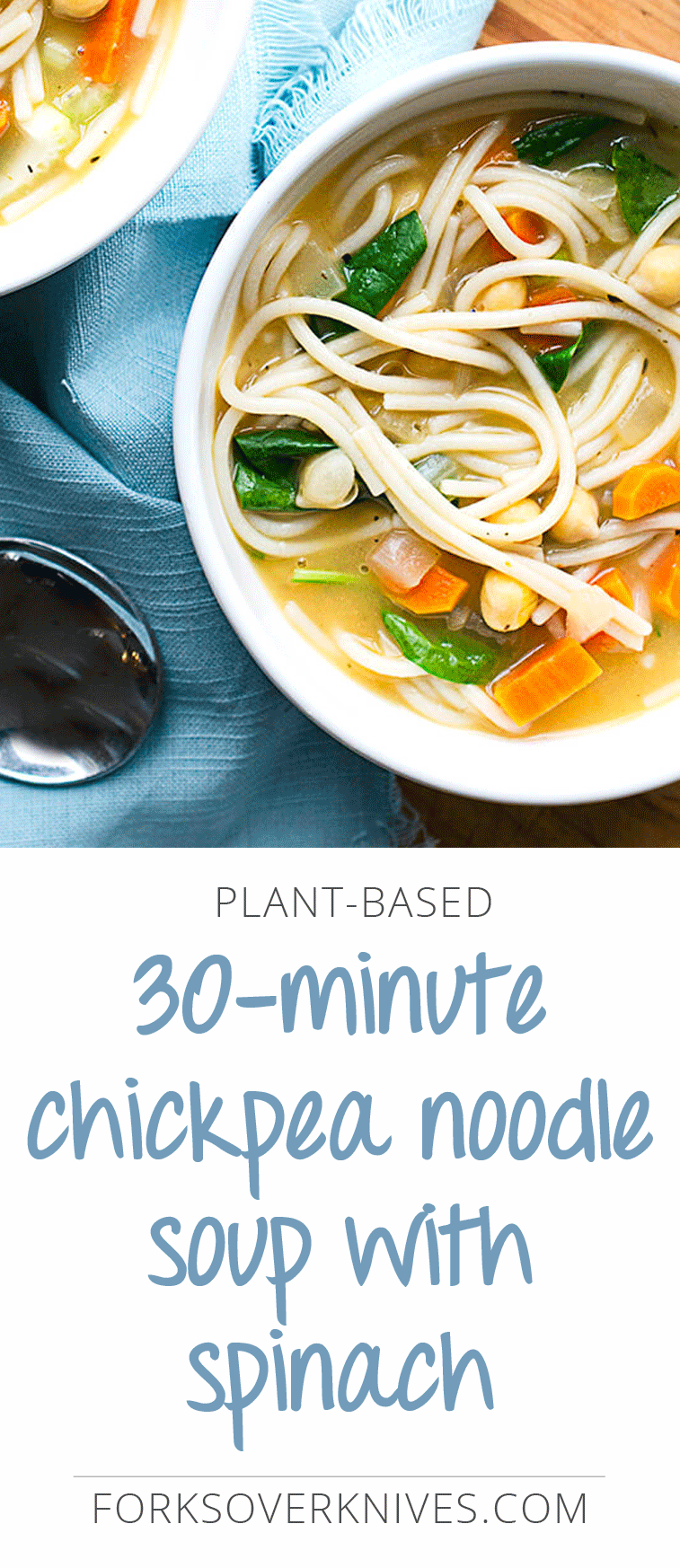 Ideal for when you're nursing a cold, or anytime you want something warm and comforting. This flavorful vegan noodle soup recipe comes together in just... #chickpeanoodlesoup