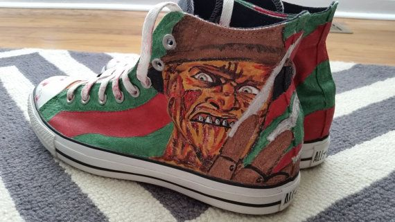 Custom Hand Painted Freddy Krueger hi top by JChristineDesign