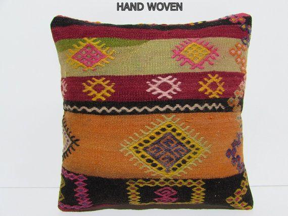 orange kilim pillow 18x18 southwest pillow cover extra large