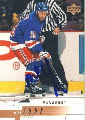 Michael York New York Rangers Signed 2000 Upper Deck Rookie Card #116 Rare SLCOA . $7.00. New York Rangers CenterMichael YorkHand Signed 2000 Upper DeckRookie Card # 116WONDERFUL AUTHENTIC HOCKEY COLLECTIBLE!!! .SIGNATURE IS AUTHENTICATED BY SPORTSLOT AUTHENTICATION, NUMBERED SL STICKER ON ITEM.SL COA: # 12650