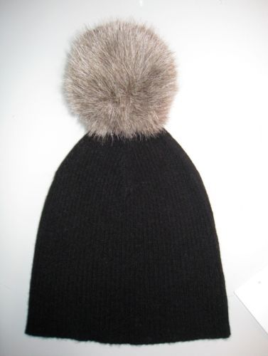 d0a272148a1f19 $55 NWT AUTUMN CASHMERE Two Tone Bag Hat With Pom Pom In Black $110 ...
