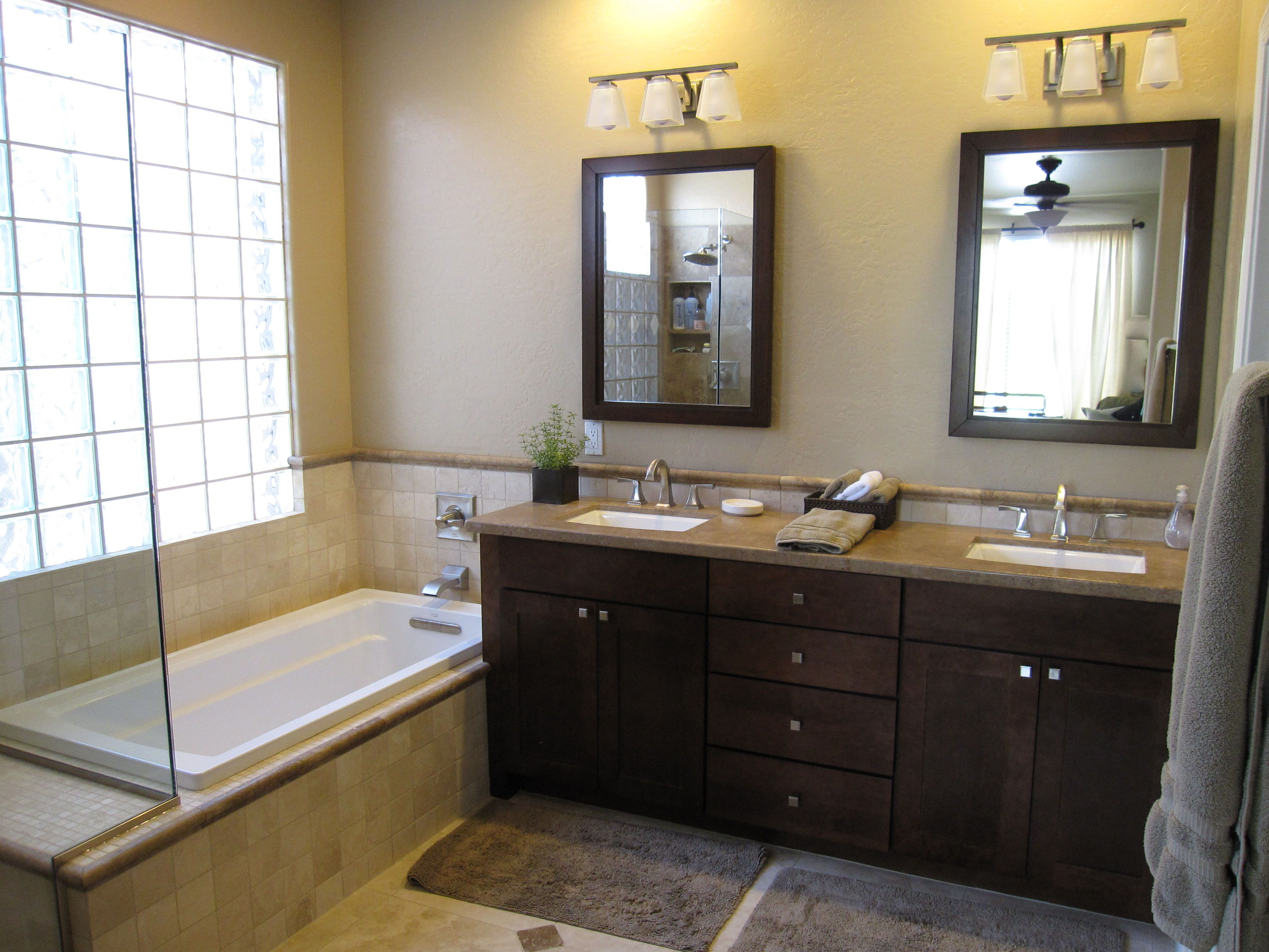 Bathroom Mirrors Ideas With Vanity Wooden Cabinets Furniture Brown