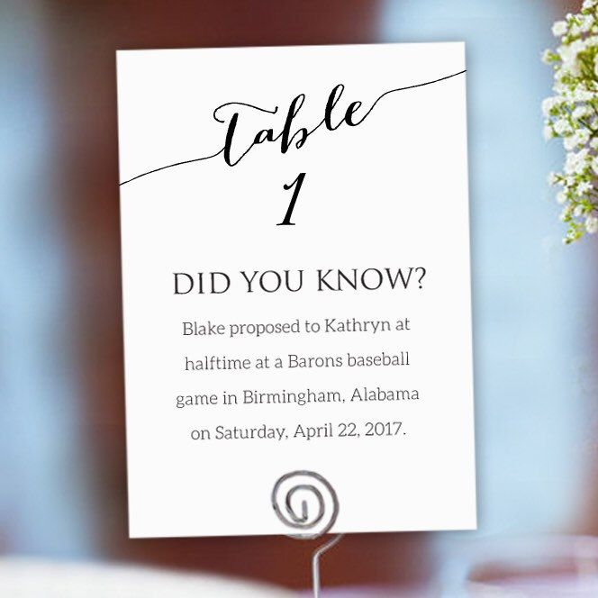 1-50 Fun Facts Wedding Fun Facts Wedding Cards Table Numbers   Etsy