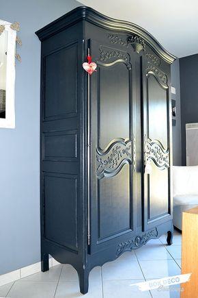 armoire normande rénovée peinte en gris anthracite reelok Pinterest - vernir un meuble peint