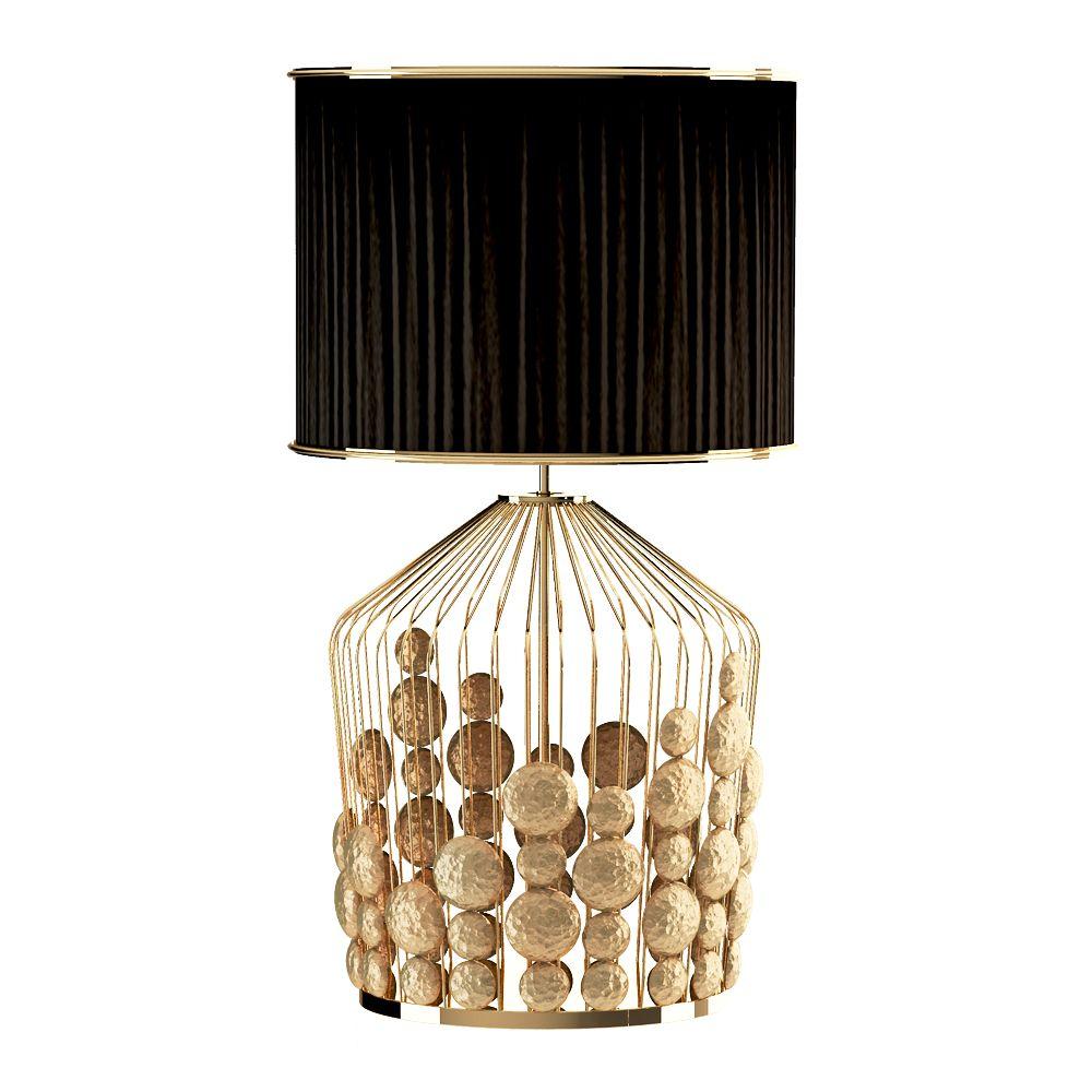 Creativemary The Gfabric Shadesmodern Table Lampsblack Fabriclamp Lightnature Inspiredflowmetallicornaments