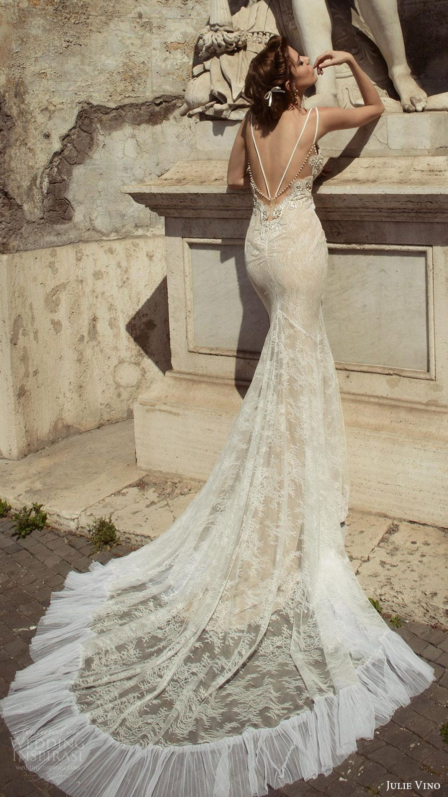 Low back lace mermaid wedding dress  Julie Vino Bridal Spring  Wedding Dresses u Roma Bridal