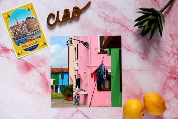 Photo of Colorful houses – Burano Venice Italy art – Pink house – Hanging laundry art – Venice photography -I