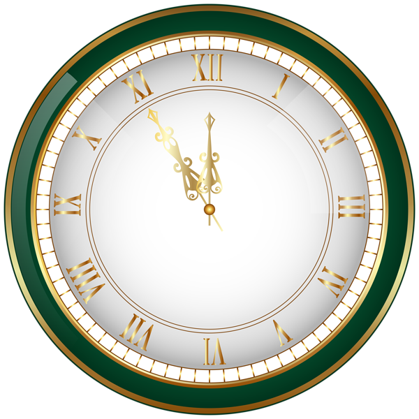 Green New Year Clock PNG ClipArt Image New year clock