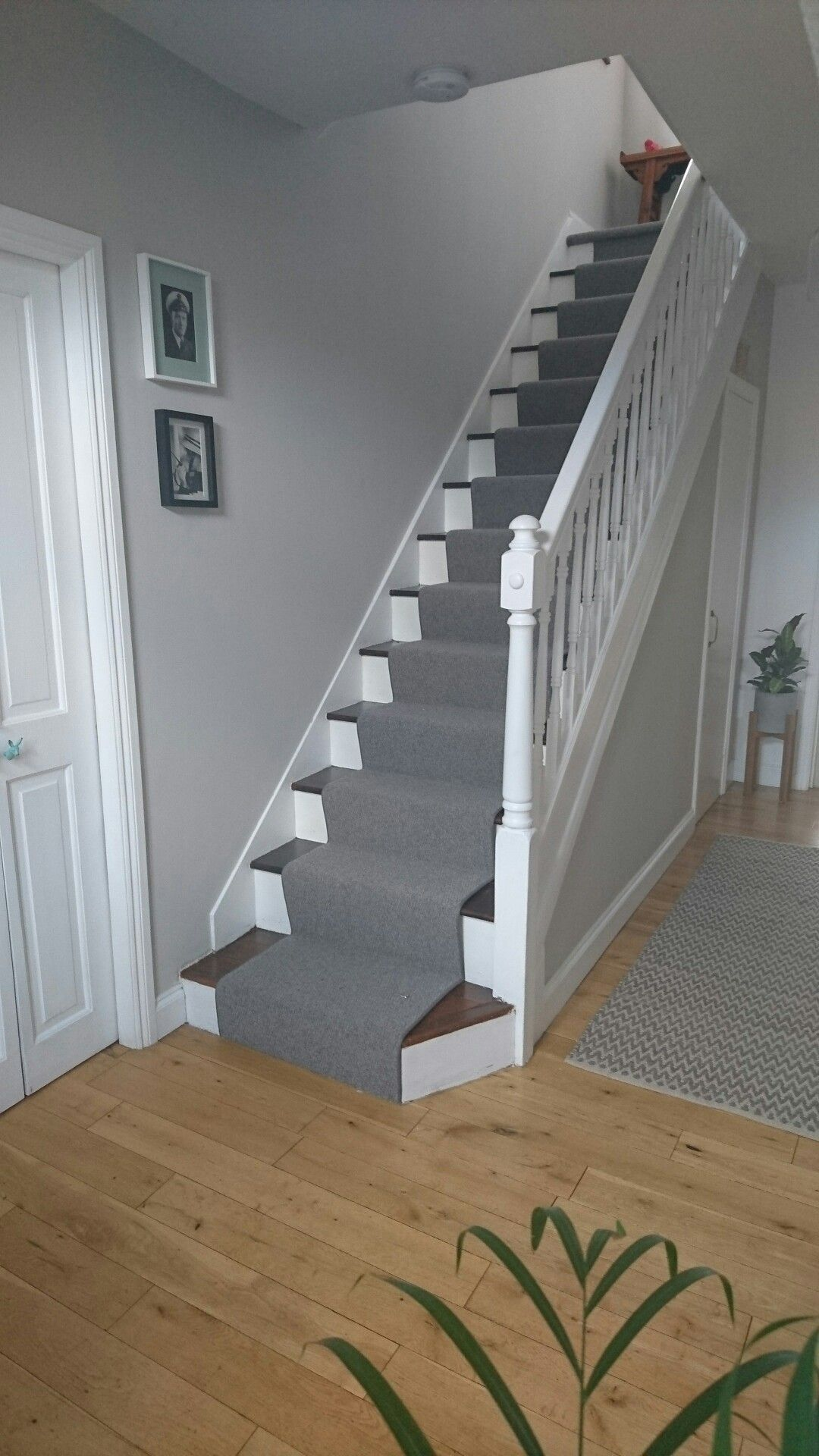 Hallway Finished At Last Grey Runner And Farrow And Ball Cornforth White Paint Hallwayideas Hallway Colours House Stairs White Hallway