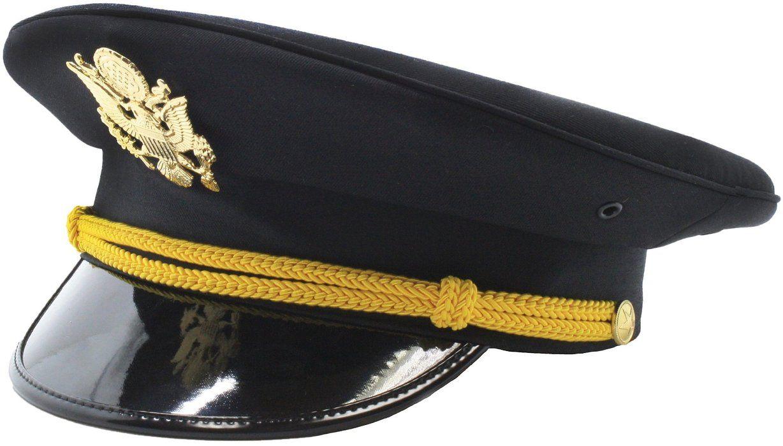 S Adult Authentic Black Captain Sailor Hat, Yacht Hat, Ship Captain Hat  Costume Accessory