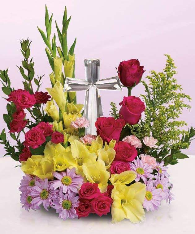 Flower · Yellow Flowers With A Crystal Cross For Easter Flower Arrangement